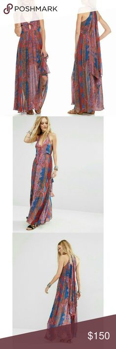 New FREE PEOPLE Unattainable Halter Maxi Dress NWT The model of bohemian splendor, this maxi dress from Free People flaunts a sweeping silhouette enhanced by a Fauvist paisley print. A high neck sash lends a retro vibe to this oh-so-current style.   Vibrant patterns adorn this stunning maxi dress for a chic style.  Halter V-neckline with exaggerated tie at back neck.  Plunging keyhole at front with tassel tie closure.  Open back detail.  Concealed back zip closure.  Straight hemline.  Lined…