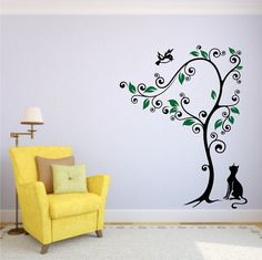 Whimsical Tree with Cat Watching Bird  Vinyl by stickemupvinyls, $49.95