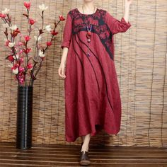 Women long sleeve ethnic style red embroidery loose linen long dresses with…