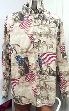 Bit & Bridle XL Long Sleeve Horses Flags Western Cowboy Beige Brown #BitBridle #Western