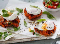 Kumara Patties Recipe with Poached Eggs - Viva