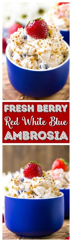 This Red White & Blue Ambrosia Salad is a delicious, no-bake, retro dessert recipe that's easy, addictive, and loaded with strawberries, blueberries, coconut, and pineapple! via @sugarandsoulco