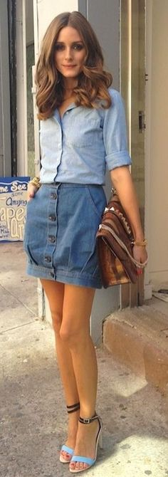 FASHION FIX: Denim on Denim! A denim skirt paired with a chambray shirt is the perfect way to transition into this fall trend!