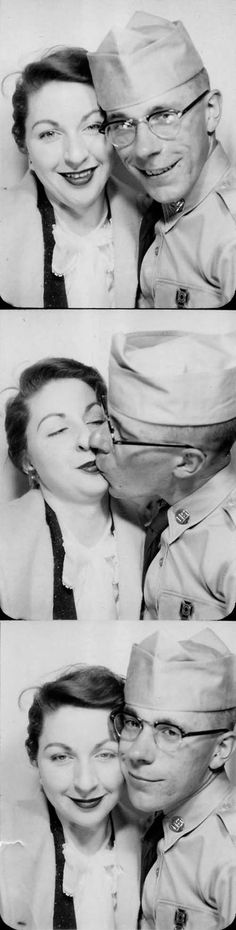 Sharing a kiss with her soldier-vintage photo booth-1940s...