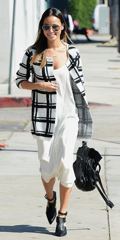 0649d2a6d1d97b Jamie Chung wearing a slip dress + ankle boots Cute Fall Outfits