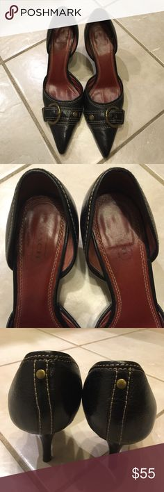 """***Authentic Coach*** Dress Shoes ***Authentic Coach***Pointy Toe Pump. Size 8B, about 3"""" stiletto heel, and has adjustable buckle strap closure across front of shoes. Lightly Padded insole has few white spot s but not noticeable when worn. Gently used as seen in photo #4 but there is still life in this Coach pair. It is in very good condition. No trades. Coach Shoes Heels"""