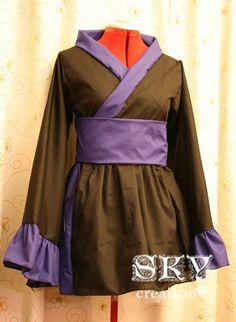 Black X Royal Blue Kimono Dress with Flared Sleeves by skycreation, $65.00