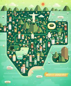 Rio De Janeiro by Aldo Crusher. Travel Maps, Travel Posters, Map Design, Graphic Design, Instructional Design, Travel Illustration, Map Vector, City Maps, Aldo