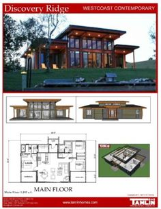 Contemporary Designs Tamlin Homes Timber Frame Home Packages Modern Lake House, Modern Mountain Home, Modern House Plans, Small House Plans, Modern House Design, Modern Style Homes, Home Design, Contemporary Cottage, Modern Cottage