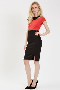 Black and Coral Belted Colourblock Dress | Jane Norman