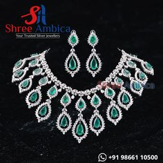 Breathtaking CZ Diamond Jewellery engraved with semi precious emerlad stones from Shree Ambica - Your Trusted Jewellers Readily available in stock For Price and Details Message on - +919866110500 #ShreeAmbica #TrustedJewellers #SilverJewellery #emeraldjewelry #uncutdiamondjewellery #indianbride #indianwedding #jewelryaddict #handcraftedjewellery #finejewellery #weddingsutra #jewelryforsale #jewelryswag Emerald Jewelry, Diamond Jewellery, Silver Jewellery, Fine Jewelry, Wedding Sutra, Uncut Diamond, Jewellery Designs, Handcrafted Jewelry, Stones