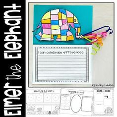 Elmer the Elephant craft and activity pack Elephant Book, Elephant Crafts, Elephant Hat, Text To Self Connection, Elmer The Elephants, Teacher Helper, Beginning Of The School Year, Book Study, Art Lessons Elementary