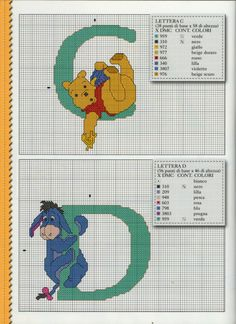 (3) Gallery.ru / Фото #2 - Disney Punto Croce n.47 - peperina75 Baby Cross Stitch Patterns, Cross Stitch Alphabet, Cross Stitch Baby, Cross Stitch Charts, Cross Stitching, Cross Stitch Embroidery, Disney Stitch, Crochet Diagram, Embroidery Fonts