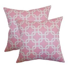 "Set of two cotton pillows with a links motif.  Product: Set of 2 pillowsConstruction Material: Cotton cover and high-fiber polyester fillColor: Baby pinkFeatures:  Inserts includedHidden zipper closureMade in the USA Dimensions: 18"" x 18"" eachCleaning and Care: Spot clean"