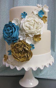 Gold Blue and Ivory wedding cake oakleafcakes.com