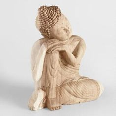 Carved Suar Wood Resting Buddha: Natural by World Market Wood Carving Faces, Wood Carving Designs, Wood Carving Patterns, Wood Carving Art, Wood Patterns, Yoga Studio Home, Painted Side Tables, Sitting Buddha, Whittling Wood