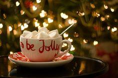 be jolly + hot drinks + Christmas tree lights