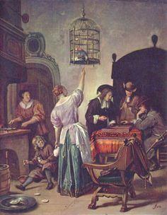 Jan Steen.  Papageienkäfig. 3. Viertel 17. Jh., Leinwand auf Holz, 50 × 40 cm. Amsterdam, Rijksmuseum. Genremalerei. Niederlande (Holland). Barock.  KO 00875