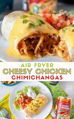This Air Fryer Cheesy Chicken Chimichanga recipe is sponsored by Ricos. For more information on sponsored content please see our Site Policies for further information. This Tex-Mex dinner recipe for Chimichangas is a fried… Air Fryer Oven Recipes, Air Frier Recipes, Air Fryer Dinner Recipes, Burritos, Enchiladas, Instant Pot, Mexican Food Recipes, Healthy Recipes, Air Fryer Recipes Mexican