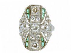 Art Deco Platinum Diamond & Emerald Ring