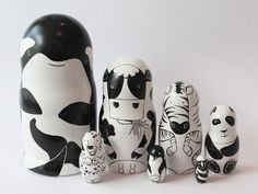 Black and White Animals Nesting Dolls, 7 pieces by JuliaBermanPaintings on Etsy https://www.etsy.com/listing/213775223/black-and-white-animals-nesting-dolls-7