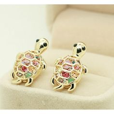 Lovely Cute Rhinestone Turtle Animal Earrings for only $9.99 ,cheap Earrings Studs - Jewelry&Accessories online shopping,Lovely Cute Rhinestone Turtle Animal Earrings want in silver