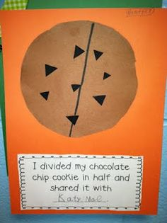 This is a really cute project for kids that are in first grade or second grade. Very good fraction activity and includes sharing with one another and using their imagination.
