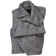 Haider Ackermann Blazer (10 545 ZAR) ❤ liked on Polyvore featuring outerwear, vests, tops, jackets, black, sleeveless blazer vest, blazer jacket, sleeveless vest, sleeveless turtleneck top and tweed blazer
