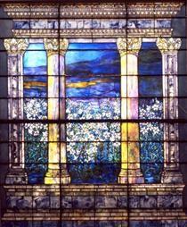 Field of Lilies window - Louis Comfort Tiffany Louis Comfort Tiffany, Glass Art, Lilies, Crystals, Window, Artwork, Painting, Irises, Work Of Art