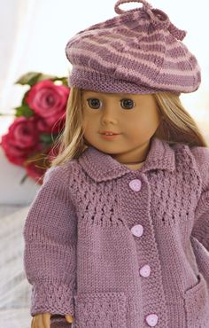 A classy and fabulous little lady in Lilac Design: Målfrid Gausel http://www.doll-knitting-patterns.com/0109D-strickanleitungen-fur-puppen.html