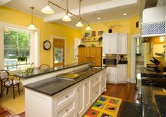 White Kitchen Yellow Cabinets yellow kitchen white cabinets - google search | lovin' the lake