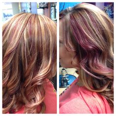 Blonde highlights and violet lowlights!