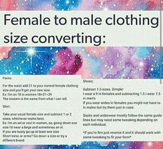 Ftm clothing size converter>> good to know, some men's clothes is so cute ☺️