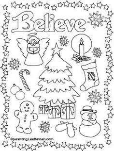Believe Christmas printable coloring page, Parenting.LeeHansen.com