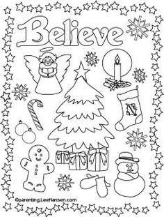 Believe Christmas printable coloring page, Parenting.LeeHansen.com