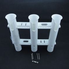 Newly White 3 Pole Boat Or Garage Wall Mount Plastic Fishing Rod Holder Rack
