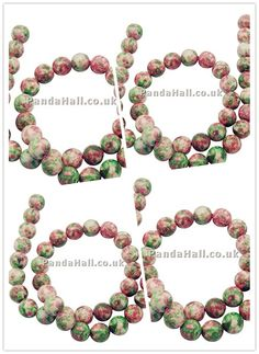Natural Ocean White Jade Beads Strand, Dyed, Round, Green+Pink, 4mm