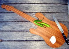 Bamboo guitar Cutting Board by BotanicalBoards on Etsy, $39.00