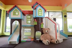 This custom playhouse was designed for Mama Bear& Play Cafe. We would love to create a custom design for your business or home. Kids Indoor Playhouse, Build A Playhouse, Indoor Playground, Indoor Play Areas, Kids Cafe, Home Daycare, Play Spaces, Crawl Spaces, Bed Design