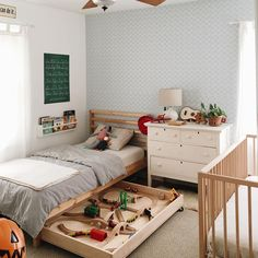 7 Things You Can Do With the Space Under a Kid's Bed is part of Kid room decor - Let's be real If you leave any space empty in a kid's room, they're going to stuff it full of things anyway Beat them to the punch Deco Kids, Diy Zimmer, Kids Room Design, Playroom Design, Kid Beds, Kids Beds For Boys, Kid Spaces, Bed Storage, Storage Ideas