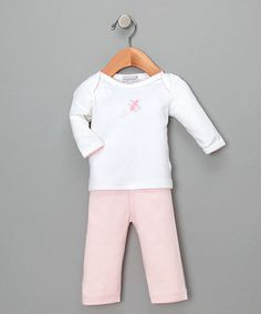 Take a look at this White & Pink Fly Butterfly Top & Pants - Infant by Hug Me First on #zulily today!