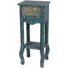 Distressed Teal Flower Stand (china)
