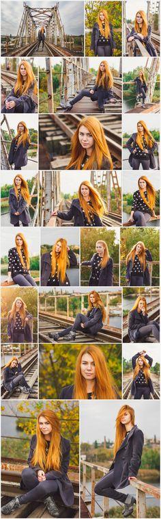 My work, Photosession, autumn photoshoot on a railway bridge. Model: Ekatenine Levinskaya, 14.10.15