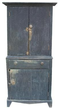 "Q353 Stepback Cupboard from Halifax Co. VA with the original ink blue paint, circa 1840 measurement  Base 21"" deep x 14"" top deep x 38 1/2"" wide x 79"" tall"