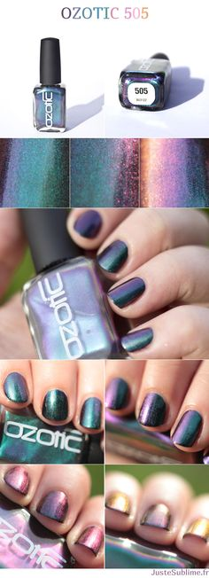Ozotic 505 - one of the most beautiful nail polish ever, with a green base, it changes color with light