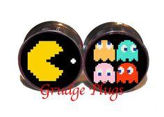 Pac Man vs Ghost Plugs  1 Pair 2 plugs  Sizes 6g to
