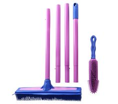 From the garage to the house to the car. Keep your spaces tidy and clean with this multipurpose broom and hand brush set. Synthetic rubber bristles reach deep into carpet and fabric surfaces, building up an electrostatic charge that attracts pet hair and debris. For wet messes, the broom is equipped with a squeegee side. From Don Aslett. QVC.com