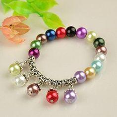 Fashion Tibetan Style Bracelets, Stretch Bracelets, with Glass Pearl Beads by Jersica