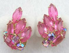 Pink Rhinestone Navette Earrings - Garden Party Collection Vintage Jewelry