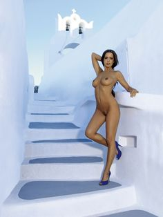 Beautiful women in Santorini German Playmate Alexandra Salai in Santorini 002